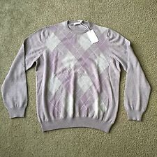 Mens GRAN SASSO Cashmere Pullover Sweater, Lilac , Diamond Print , Sz M/L