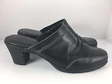 CLARKS Bendables Women US 11 Black Leather Bootie Clogs Mules Slip-On Shoe 80418