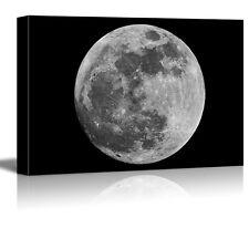 "Canvas Prints Wall Art - Full Moon against Black Universe Space - 24"" x 36"""
