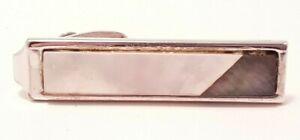 Vintage White Black Tie Bar Diagonal Corner Design Tie Clip Formal Unsigned