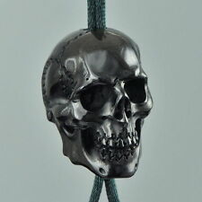 HUMAN SKULL BEAD Fine Black Bovine HORN Carving 33 mm with 4 mm drill hole