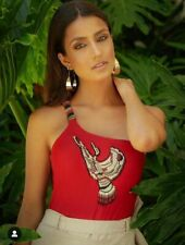 Red One piece Embroidered Swimwear (M)