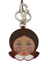 DOLCE & GABBANA Keychain Leather Brown Beige Doll Girl Clasp Keyring RRP $200