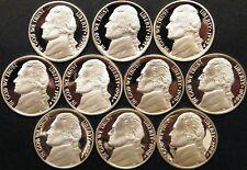 1990-1999 S Jefferson Nickel Gem Cameo Proof Set 10 Coin Decade Run US Mint Lot