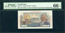 ND (1947-49) GUADELOUPE 5 FRANCS PMG 66 EPQ ONE OF THE BEST  PK # 31 LQQK!!*