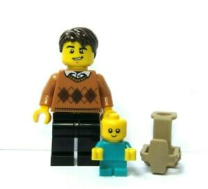 LEGO Father Dad Minifigure & Turquoise  Baby With Carrier Holder  Man Child