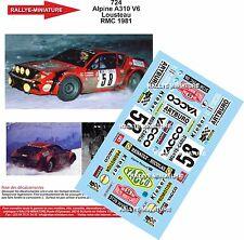 Decals 1/32  réf 724 Renault Alpine 310 V6 Lousteau Monte Carlo 1981