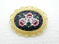 Vintage Italy Gold Toned Filigree Micro Mosaic Floral Flowers Glass Pin Brooch