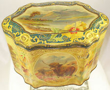 MOSS RIMMINGTON  SCOTTISH COUNTRYSIDE  RARE  BRITISH LARGE MUSTARD TIN  c1890