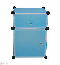 MODULAR 2 CUBE STORAGE SOLUTION ORGANISER / SHELVES / UNIT / FURNITURE - BLUE