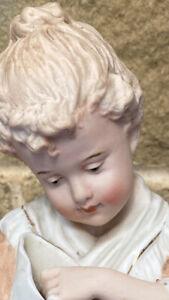 Antique Bisque Little Girl Figurine unmarked  Heubach …Delightful !