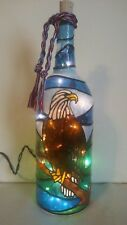 American Eagle Bottle Lamp Hand Painted Lighted Stained Glass look