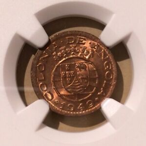1949 ANGOLA 10 Centavos NGC MS 64 RD - Bronze - 16 in Higher Grades