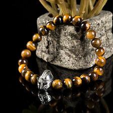2016 Fashion Mens Tiger eye Stone Beaded Helmet Bracelet Spartan Knight Bracelet