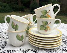 Set of 6 VILLEROY & BOCH Parkland Flat Demitasse Espresso Cups & Saucers Mint