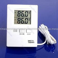 White LCD Digital Indoor And Outdoor Thermometer Temperature Meter