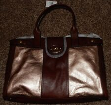 Brand New w Tag FOSSIL Rose Gold Metallic Messenger Bag Brown Leather