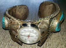 womens TURQUOISE METAL BRACELET TIMEX WATCH flowers ONE SIZE FITS MOST VINTAGE?