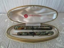 VTG Marbled Celluloid Fountain Pen & Mechanical Pencil Set in Sheaffers Case