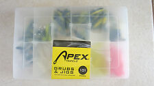 Apex Tackle Box Grubs & Jigs 101 Pieces with Reusable Tackle Box fishing pink
