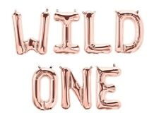 "WILD ONE Letter Balloons - 16"" Rose Gold Balloons - First Birthday - US SHIP"