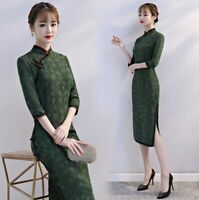 Retro Women Chinese Classic Cheongsam Dress Casual Embroidered Floral Slim Qipao