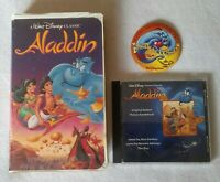Disney Aladdin Lot! Black Diamond VHS, Soundtrack CD and Disney World Pin. 1992
