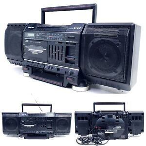 No CD Vintage JVC PC-V2J Boombox 1987 AM/FM Radio Cassette Player Aux In 80's