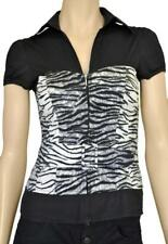BODY AND SOUL SZ S (6-8) WOMENS Black White Animal Print w/ Belt Cap Sleeve Top