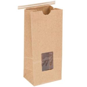 100 Pk, 1/2 lb Tin Tie Cookie Coffee Donut Bag w/ Window (select kraft or white)