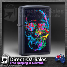 "Zippo Lighter ""X-Ray Skull "" Black Matte - Aussie Seller - Free Post"