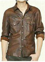 Men's Leather Shirt Real Lambskin Lederhemd Jacket Biker Slim Fit Cuir Brown