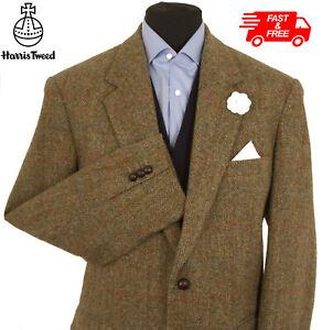 Harris Tweed Jacket Blazer Size 46R Herringbone Windowpane Country Check Hacking
