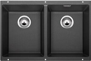Blanco SUB350350UK5 Double Bowl Undermount Granite Kitchen Sink Anthracite Black