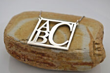 """Personalized 1"""" Monogram necklace 3 Initials Name Pendant Sterling Silver .925"""