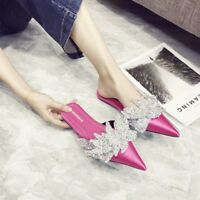 WOmen's Low Heels  Pointed toe Satin Mules Slippers Rhinestone Sandals Shoes