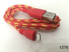 Strong Braided iPhone iPad USB Data Sync Charger Cable Lead Red 1M