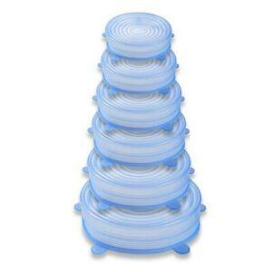 6Pcs Set Stretch Silicone Food Bowl Cover Safe Storage Wraps Seals Reusable Lids