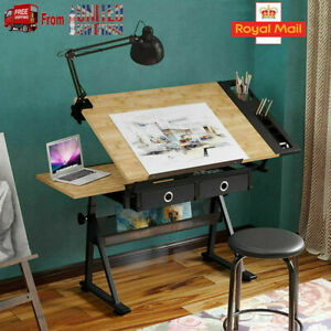 Drafting Table Art Craft Drawing Desk Architect Desk Stand Adjustable w/ Stool