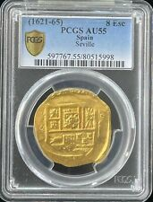 Spain: Philip IV gold Cob 8 Escudos ND (1621-65) AU55 PCGS
