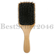 Natural Boar Bristle Hair Brush Wooden Paddle Detangling Cushion Hairbrush Large