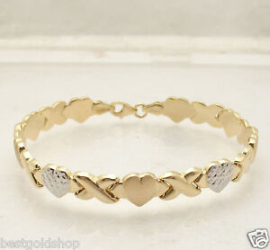 "7.25"" Hearts & Kisses Bracelet 10K Yellow White Two-Tone Gold Clad 925 Silver"