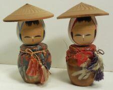 VINTAGE 1960s SET of 2 JAPANESE KOKESHI DOLLS Wooden HAND PAINTED WOOD Man Woman