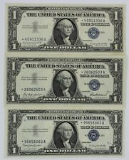3 Pcs $1.00 Silver Certificate Star Note Series 1957-B Choice Uncirculated