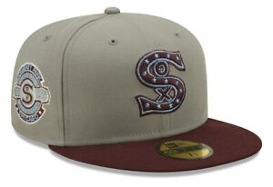New Era Chicago White Sox 1917 WS Patch 5950 Gray/ Maroon Hat Size 7 1/2 Blue UV