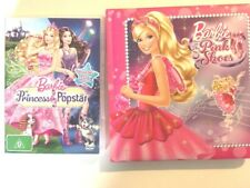 2x Barbie Musical DVD Movie PRINCESS & THE POPSTAR Barbie in the pink shoes book