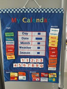 Childs My Calendar Fabric Wall Hanging Blue by Fiesta Crafts Excellent