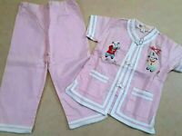 """1950s? Vintage Chinese Kimono Embroidered Baby Outfit Children """"Orchid"""" Doll"""