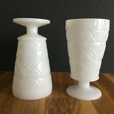 Vintage Pair Milk Glass Goblets Pedestal White Wine Glass Water Cup