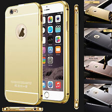 Lujo Espejo Funda Trasera Aluminio Metal Marco Para Apple IPHONE 6G/S, 6Plus/S